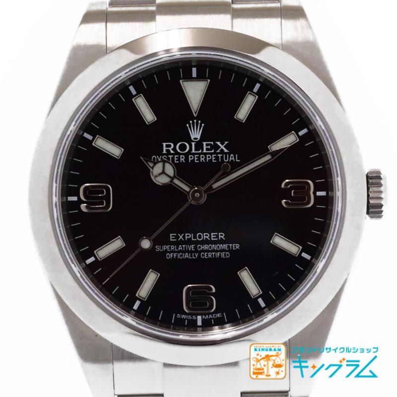 ロレックス ROLEX OH済 エクスプローラ1 214270 黒文字盤 自動巻 メンズ腕時計 ka【中古】