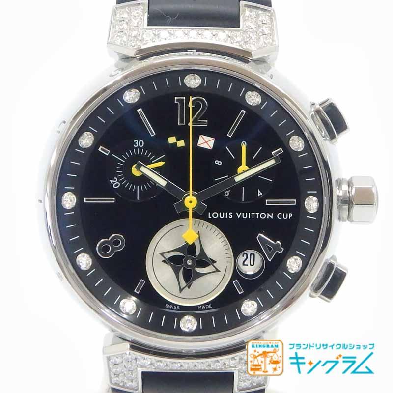 ルイ ヴィトン LOUIS VUITTON レディース クオーツ 腕時計 タンブール ラブリーカップ クロノグラフ Q132K 12P ラグ ダイヤモンド omte [中古]