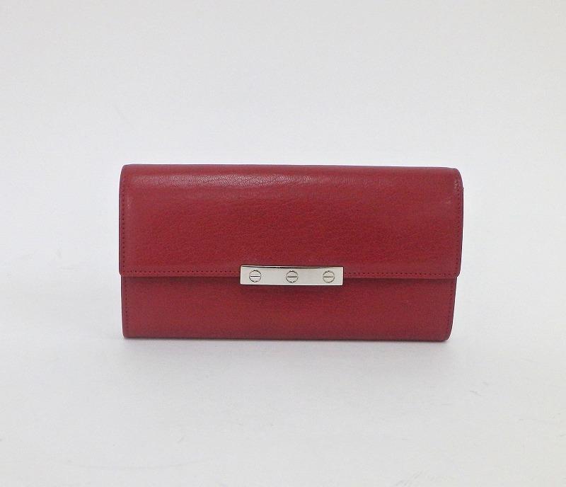カルティエ Cartier ラブ L3001377 赤系 レザー レディース財布 ku 【中古】