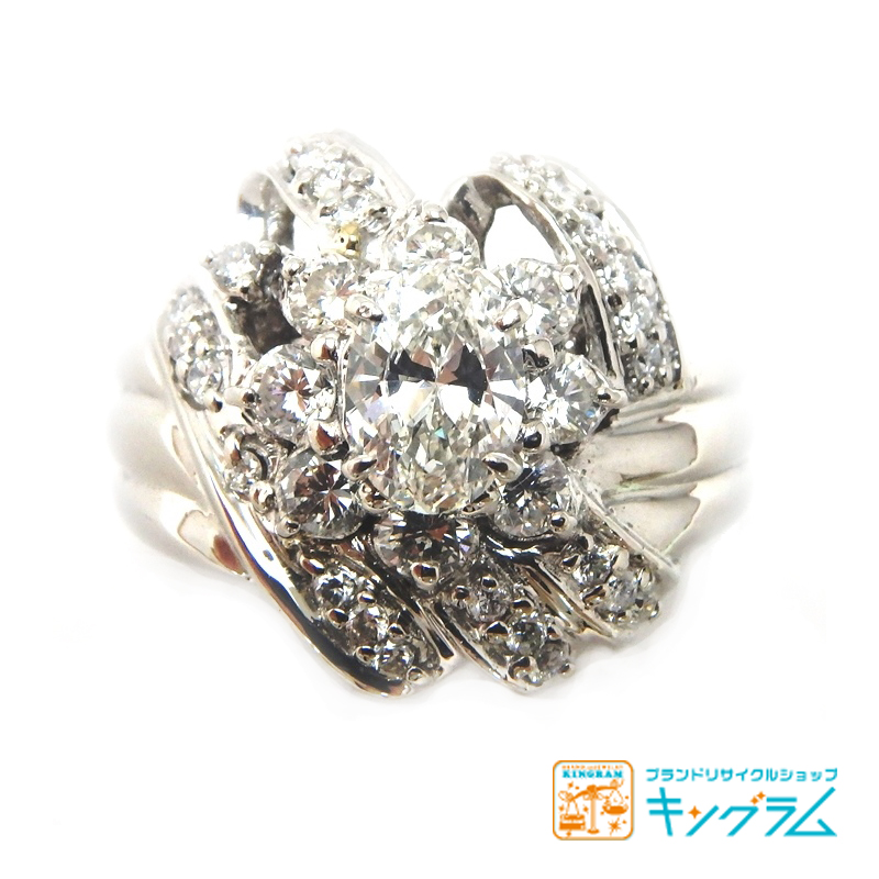 Pt900 ダイヤモンドデザインリング 0.716ct/0.84ct 鑑別書付 オーバルブリリアントカット プラチナ 指輪 se [中古]