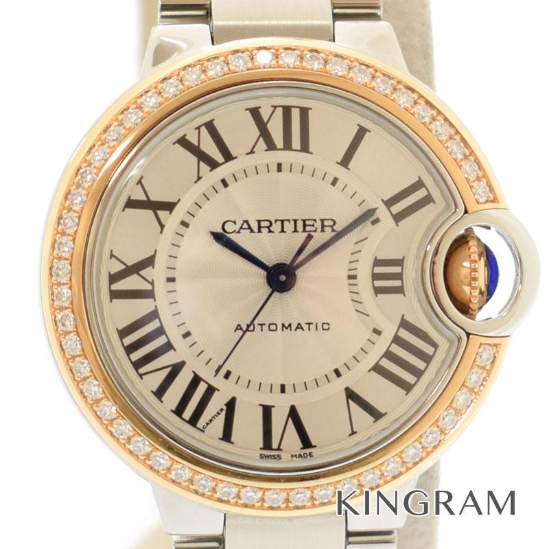 カルティエ Cartier バロンブルー 33mm 自動巻き K18ピンクゴールド&ステンレス ダイヤベゼルWE902080 レディース腕時計 migi 【中古】