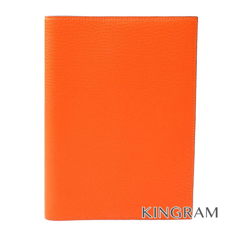 エルメス HERMES アジェンダGM 手帳カバー ヴォーエプソン オレンジ K刻印 2007年製 mi【中古】