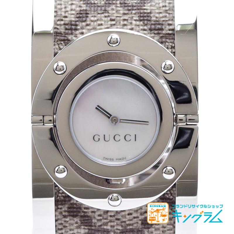 グッチ GUCCI トワール バングルウォッチ 112 シェル文字盤 レディース 腕時計 GGキャンバス ny 【中古】