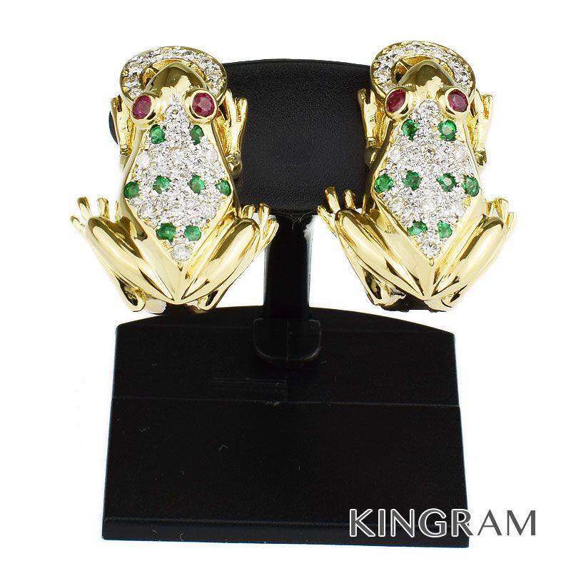 ノーブランド Generic items イヤリングK18YG(750) ダイヤモンド カエル モチーフ クリーニング済 om 【中古】