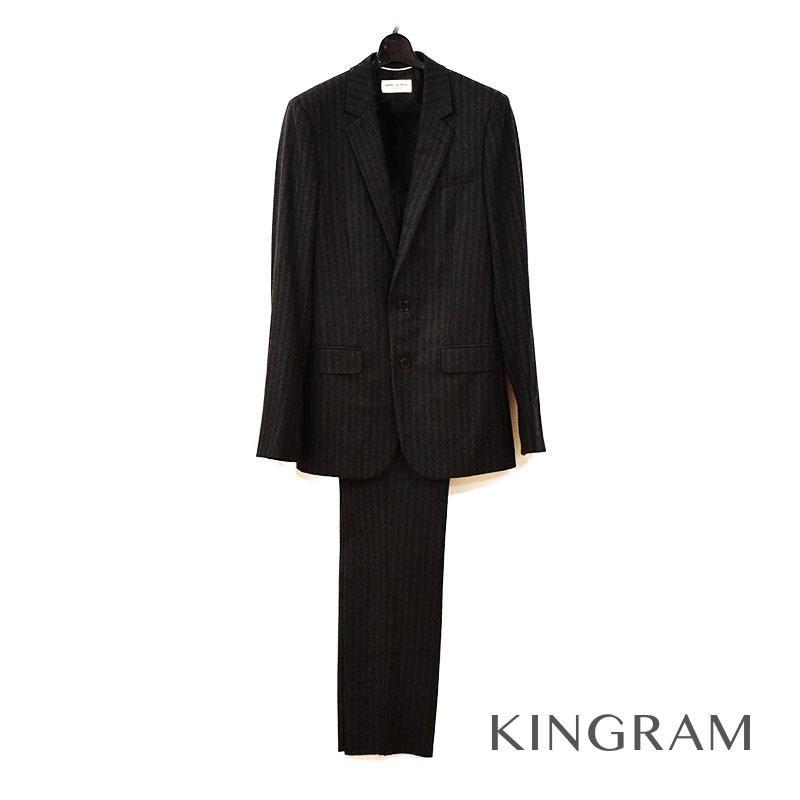 イヴサンローラン YVES SAINT LAURENT 330255Y514B ブラック×グレー ウール100% メンズ セットアップ スーツ ec 【中古】