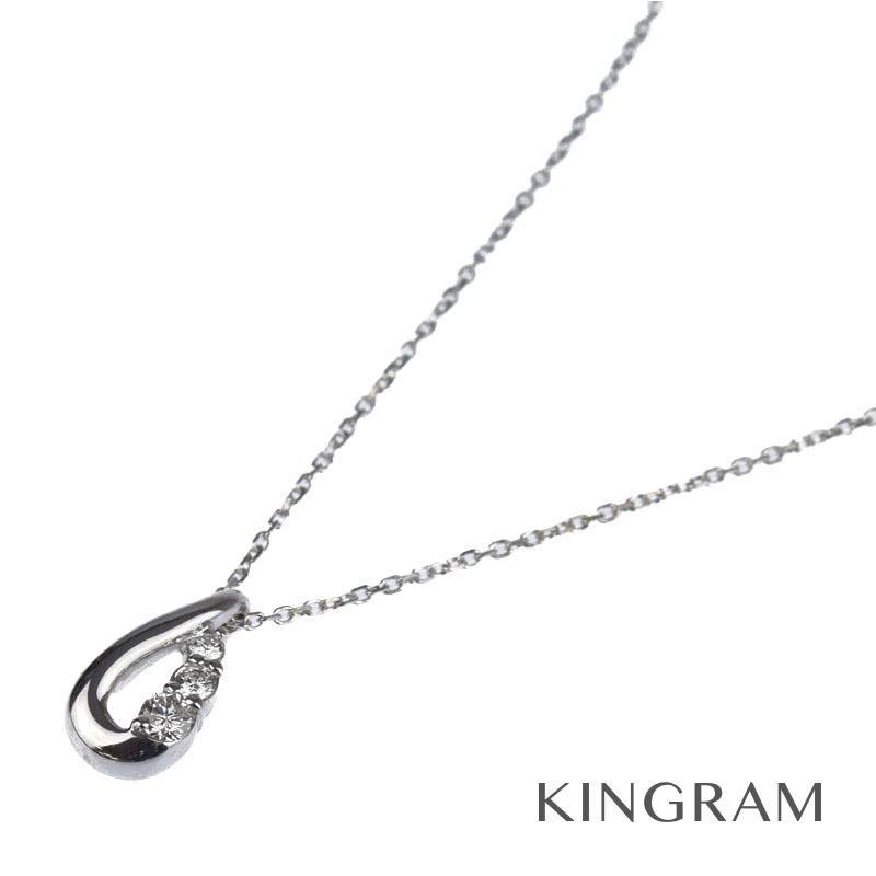ヨンドシー 4℃ ネックレス K18WG ダイヤモンド 3P クリーニング済 ec 【中古】