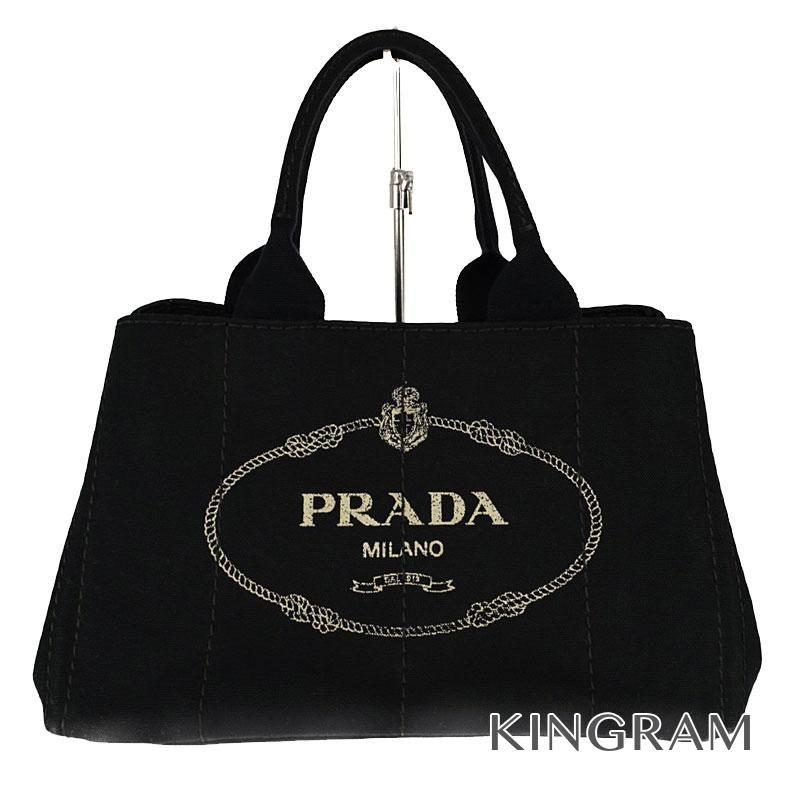 プラダ PRADA カナパ トートバッグ BN1877 ブラック キャンバス×レザー トートバッグ kw 【中古】