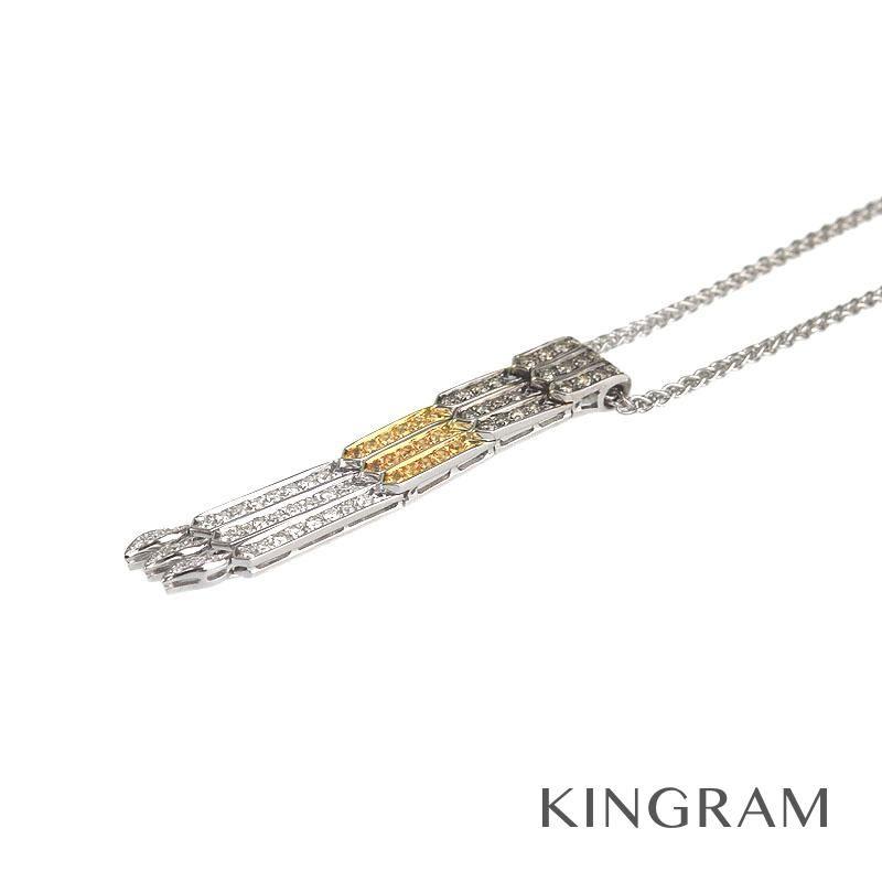 ノーブランド Generic items ネックレス K18WG ダイヤモンド イエローサファイヤ クリーニング済 hsse 【中古】