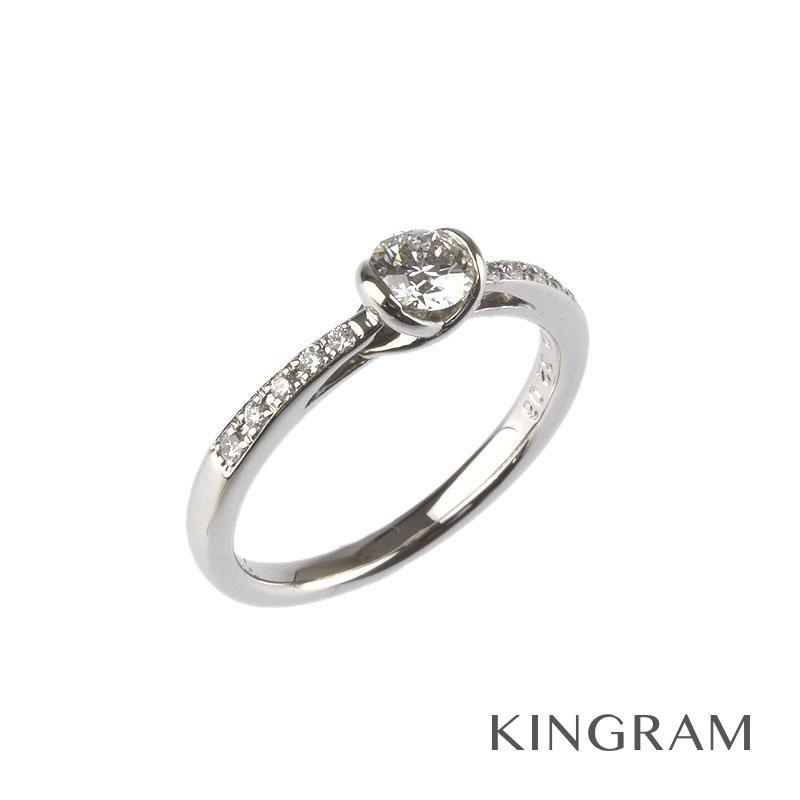 ラザール ダイヤモンド LAZARE DIAMOND リング Pt950 ダイヤモンド0.32ct メレダイヤ0.06ct 11号 クリーニング済み mi 【中古】