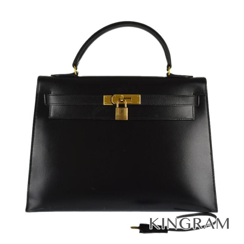 エルメス HERMES ケリー32 1983年製 ○M ゴールド金具 外縫い ブラック ボックスカーフ ハンドバッグ mi 【中古】