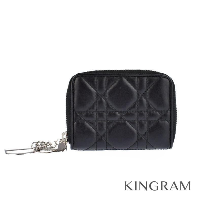 クリスチャンディオール Christian Dior レディディオール ブラック ラムスキン コインケース te 【中古】