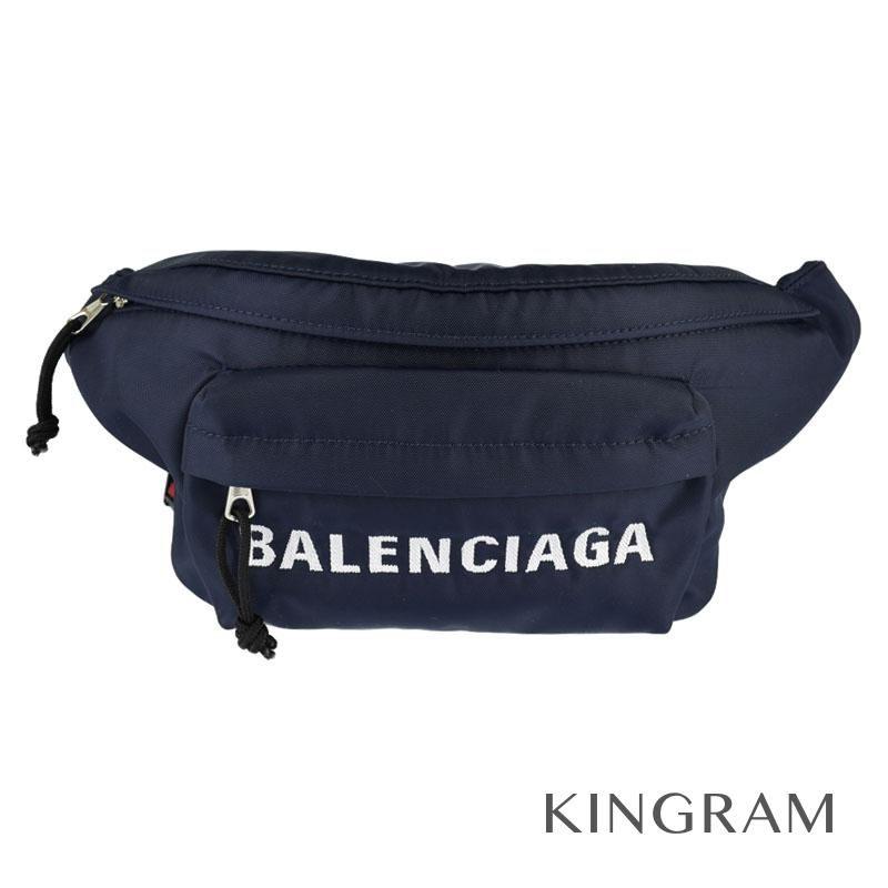 バレンシアガ BALENCIAGA Wheel Belt Bag ネイビー×レッド ナイロン ボディバッグ・ウエストポーチ rsa 【中古】