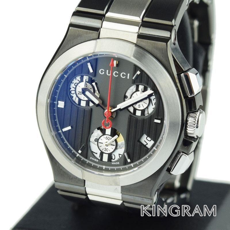 グッチ GUCCI チタニウム クロノグラフ Ref.YA124402 クォーツ アウトレット レディース 腕時計 ec 【中古】