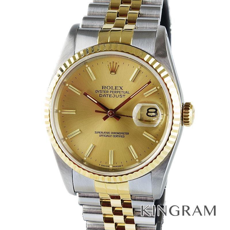 ロレックス ROLEX デイトジャスト Ref.16233 OH済 L番 自動巻 純正革ベルト付 メンズ 腕時計 ros 【中古】