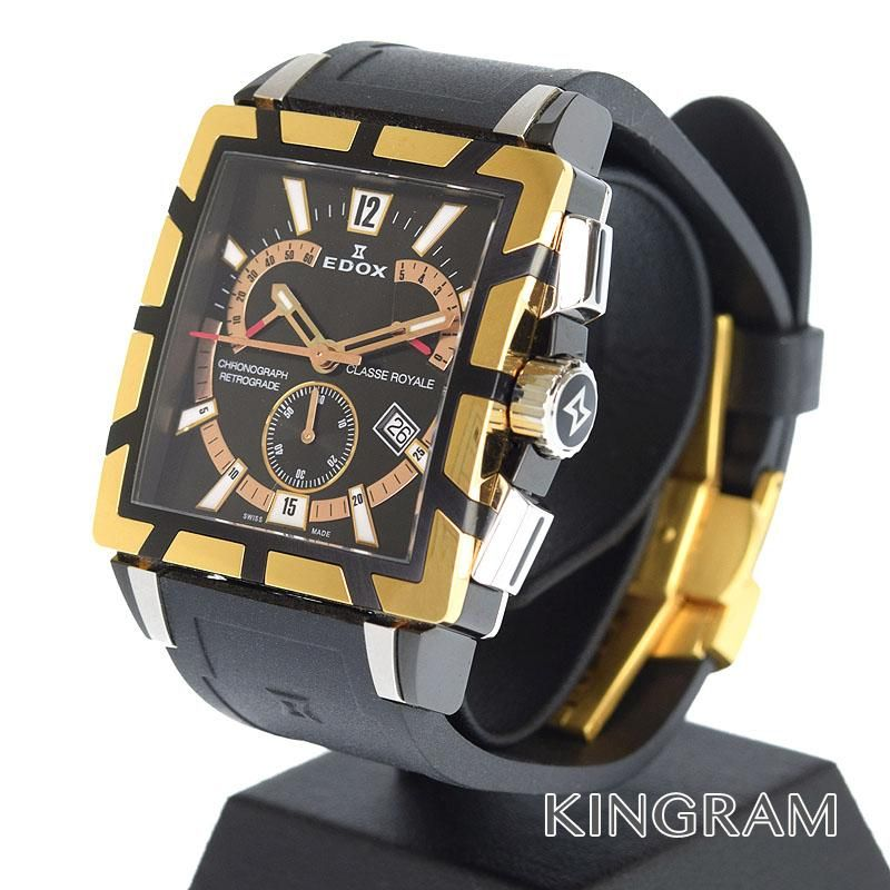 エドックス EDOX クラス ロイヤル クロノグラフ Ref.01504357RNNIR メンズ 腕時計 ec 【中古】