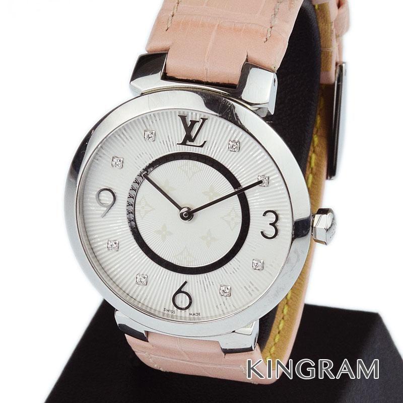 ルイ・ヴィトン LOUIS VUITTON Ref.Q13MJ タンブール ダイヤ アリゲーターベルト R15162 クォーツ レディース 腕時計 ny 【中古】