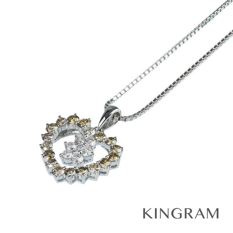 ノーブランド Generic items ネックレス K18WG ダイヤモンド ハートモチーフ クリーニング済 rsn 【中古】