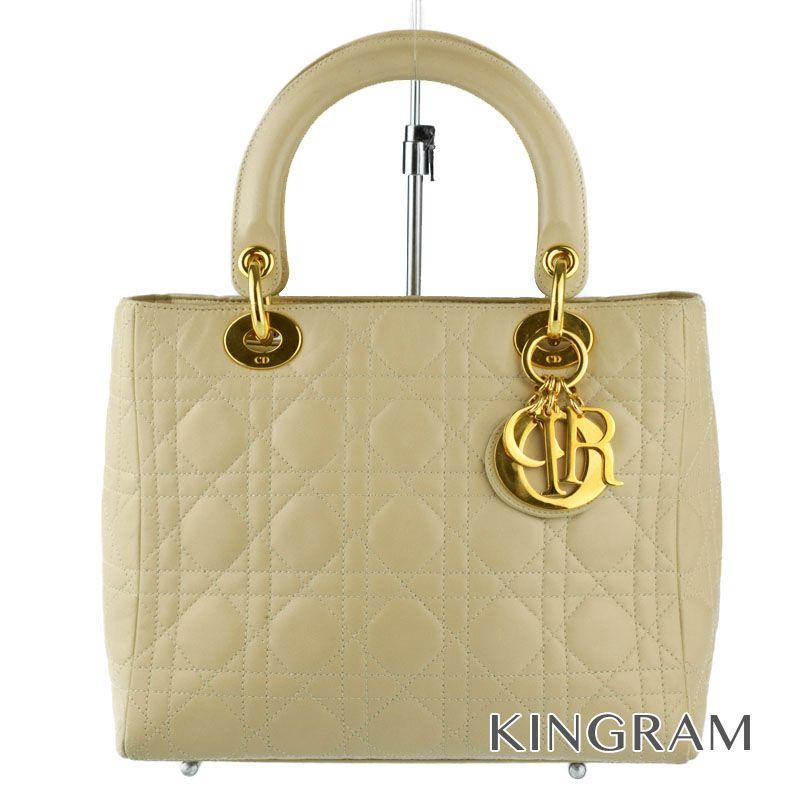 クリスチャンディオール Christian Dior レディディオール MA-1927 ベージュ ラム革 ハンドバッグ tu 【中古】