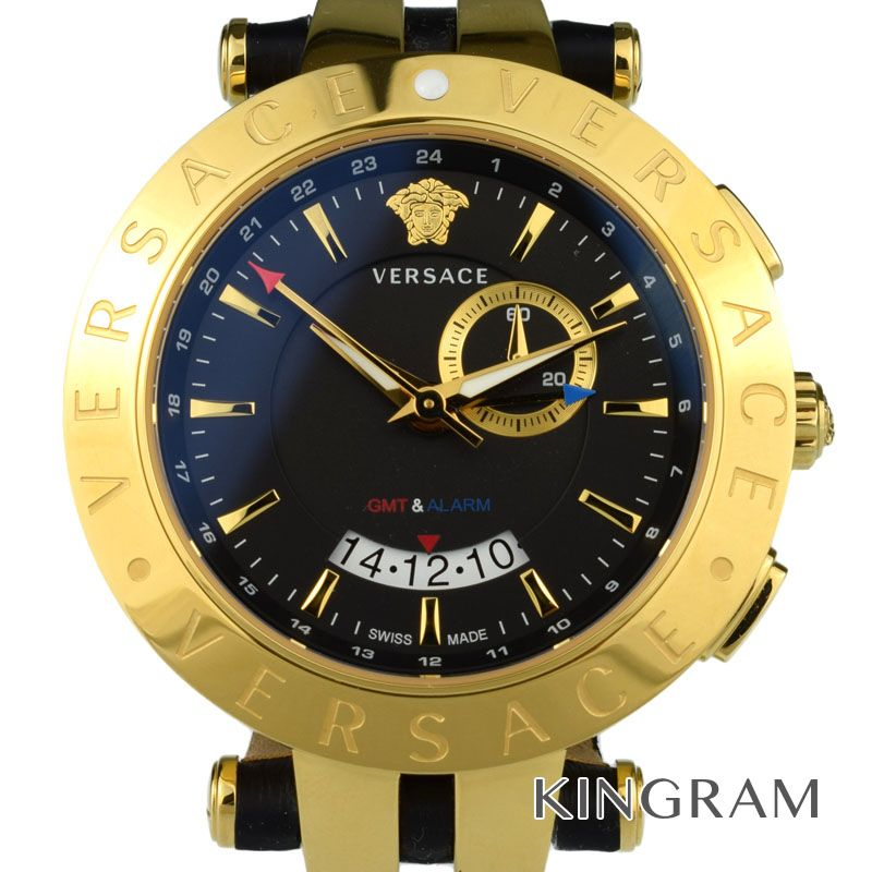 ヴェルサーチ VERSACE Ref.29G70D009S009 Vレース GMT クォーツ メンズ 腕時計 ec 【中古】