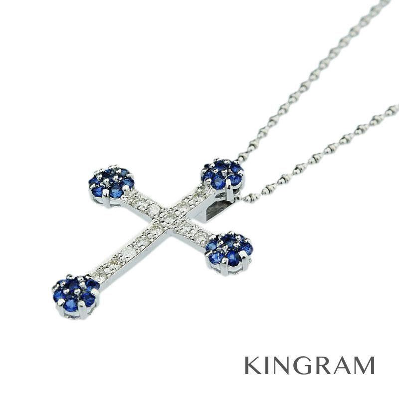 ノーブランド Generic items ネックレス K18WG サファイア ダイヤモンド クリーニング済 ya 【中古】