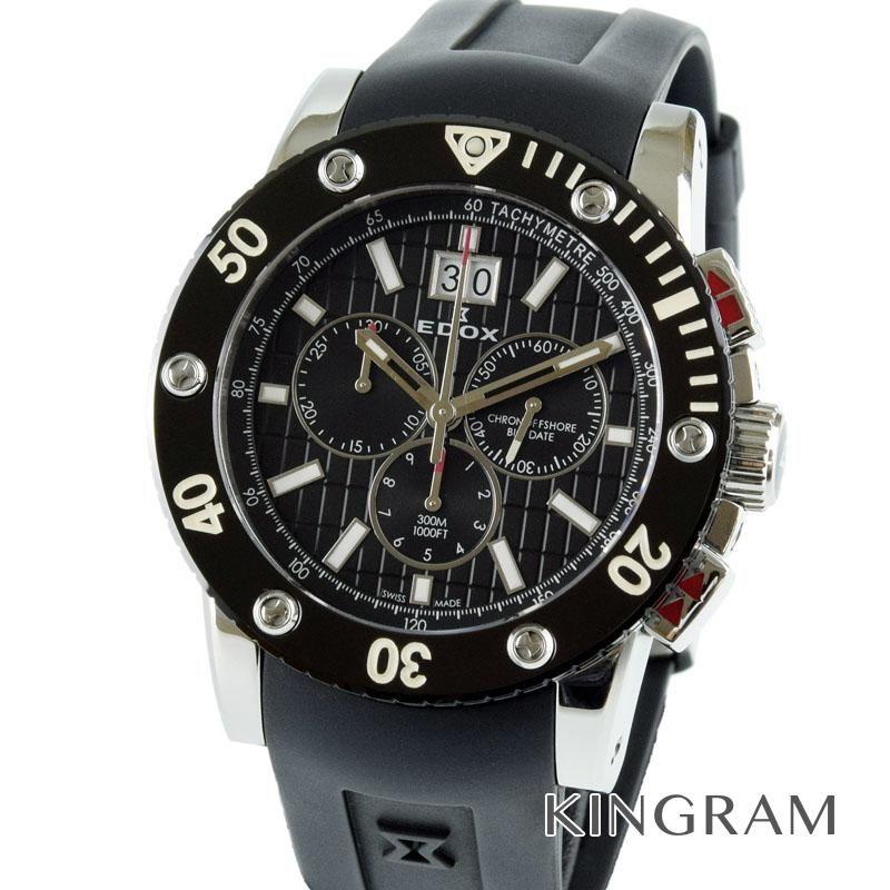エドックス EDOX Ref.10012 クラスワン クロノオフシェア ビッグデイト クォーツ メンズ 腕時計 taju 【中古】