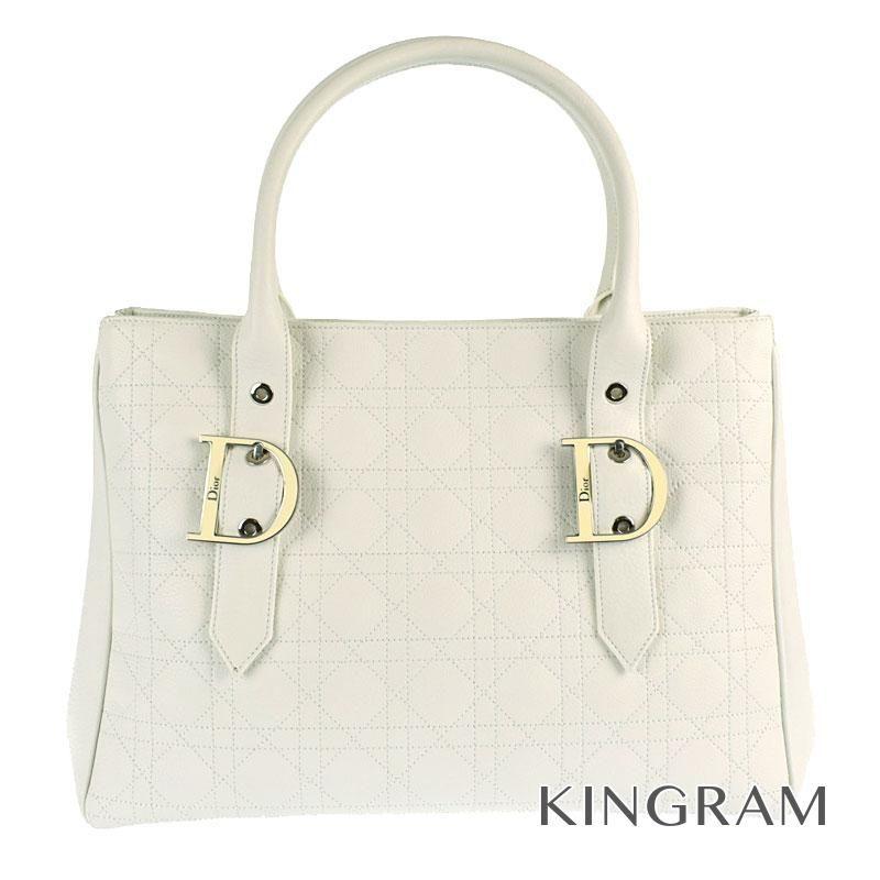 クリスチャンディオール Christian Dior カナージュ ハンドバッグ カナージュ ホワイト レザー トートバッグ gi 【中古】