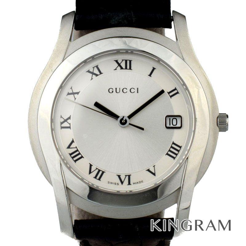 グッチ GUCCI Ref.5500M 純正革ベルト 電池交換済 クォーツ メンズ 腕時計 rib 【中古】