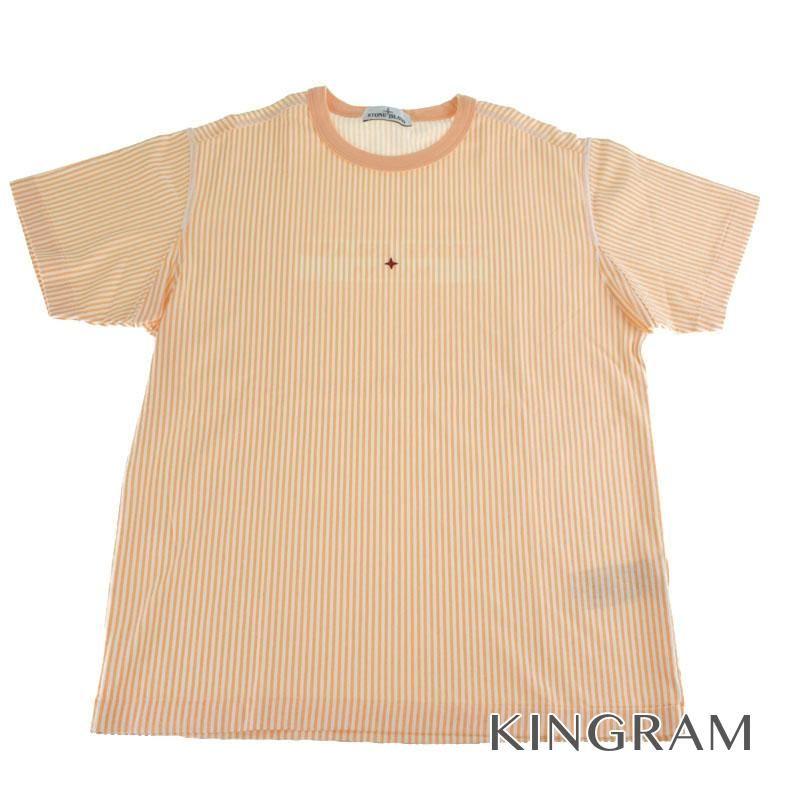 ストーンアイランド STONE ISLAND ストライプTシャツ サイズXL 66815233X2 オレンジ コットン100% メンズトップス rsn 【中古】