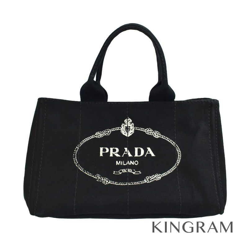 プラダ PRADA カナパトート BN1877 ブラック キャンバス トートバッグ rib 【中古】