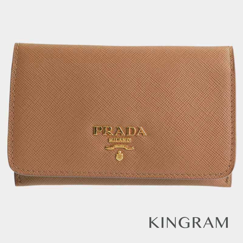 プラダ PRADA パスケース カードケース 1M1362 キャメル サフィアーノ 定期入れ・パスケース hi 【中古】