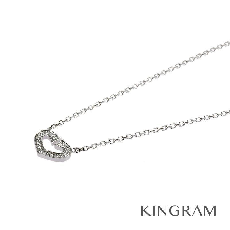 カルティエ Cartier Cハート ネックレス K18WG(750)  ダイヤモンド クリーニング済 mi 【中古】