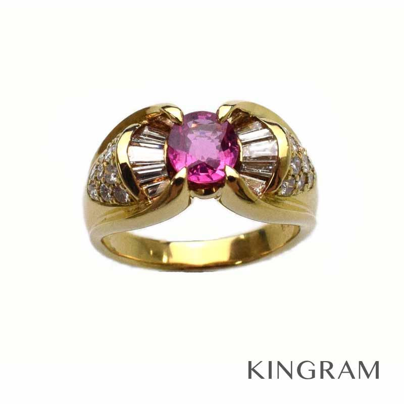 K18 天然ルビー/ダイヤモンドデザインリング 0.84/0.65ct 指輪 #11 11号 鑑別書付 ゴールド se 【中古】