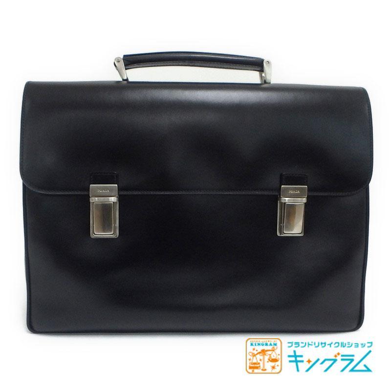 プラダ PRADA ビジネスバッグ ブリーフケース V151 VITELLO NERO ブラック オールレザー sm 【中古】
