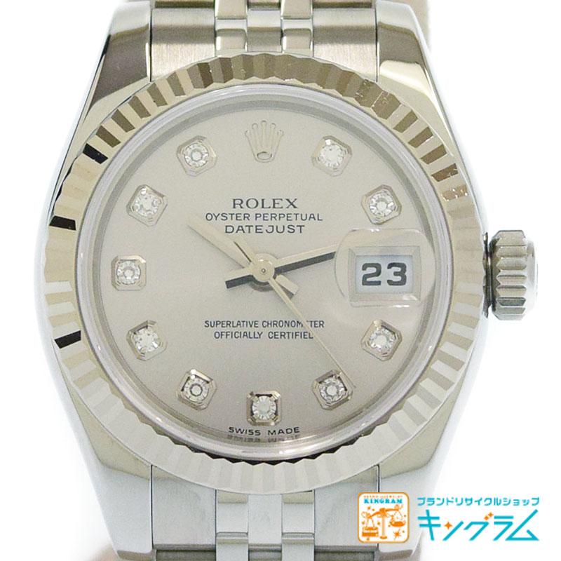 ロレックス ROLEX デイトジャスト 179174G D番 完品 シルバー シェル10P文字盤 レディース腕時計 te 【中古】