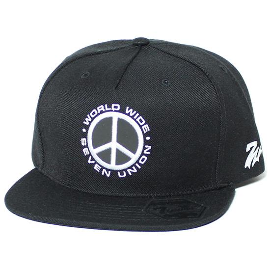 7UNION 7ユニオン World Wide Cap スナップバック キャップ 帽子 スウェード ブラックby76vYfg