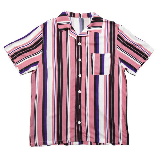 【即日発送】ナインルーラーズ シャツ メンズ レディース 半袖 開襟シャツ オープンカラー 送料無料 NINE RULAZ LINE Open Collar Striped Shirt ストライプ M-XXL NRSS19-016