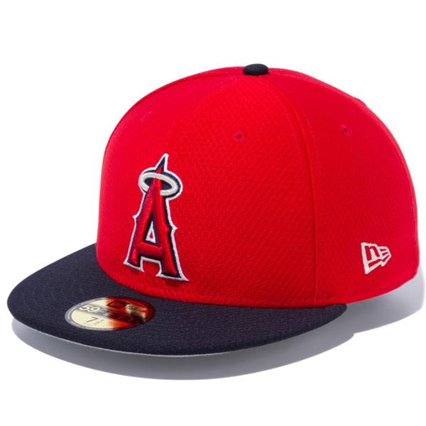 ニューエラ キャップ NEW ERA 59FIFTY MLB オンフィールド バッティング・プラクティス ロサンゼルス・エンゼルス ゲーム レッド/ネイビーバイザー チームカラー 11904414