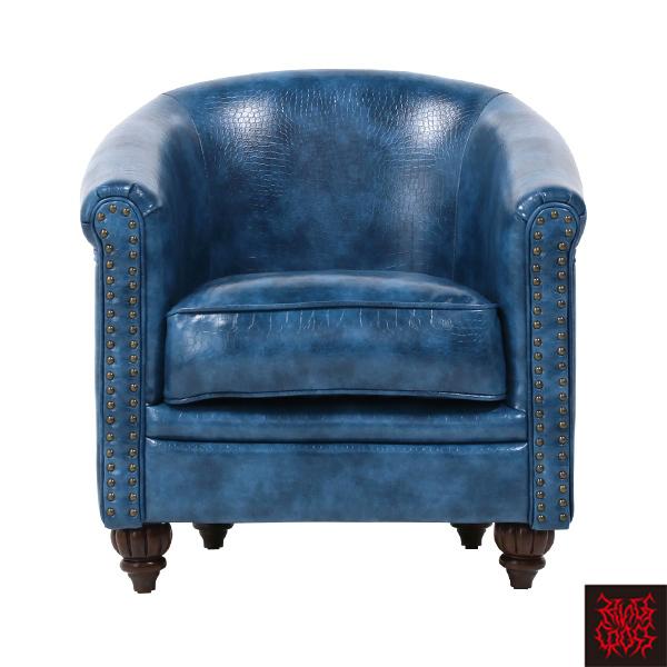 ブルークロコダイル調PUレザーラウンジシングルソファ 1人掛け 1人掛け 一人掛け 椅子 チェア 合皮 型押し 青色 水色 VLA1P79K/ アンティーク ヴィンテージ ゴスロリ ロリータ パンク スタッズ ファッション おしゃれ