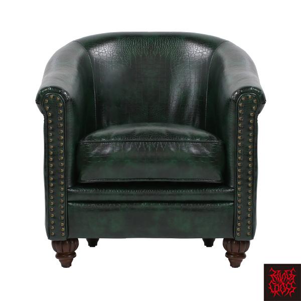 グリーンクロコダイル調PUレザーラウンジシングルソファ 1人掛け 1人掛け 一人掛け 椅子 チェア 合皮 型押し 緑色 VLA1P82K/ アンティーク ヴィンテージ ゴスロリ ロリータ パンク スタッズ ファッション おしゃれ