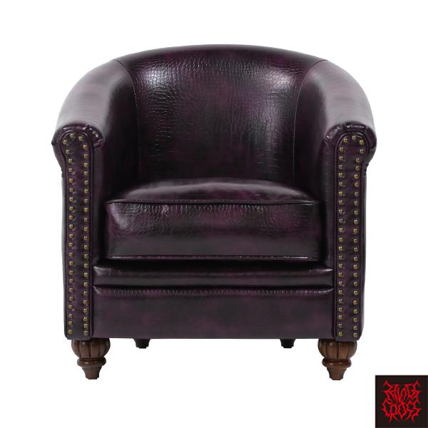 パープルクロコダイル調PUレザーラウンジシングルソファ 1人掛け 1人掛け 一人掛け 椅子 チェア 合皮 型押し 紫色 VLA1P83K/ アンティーク ヴィンテージ ゴスロリ ロリータ パンク スタッズ ファッション おしゃれ