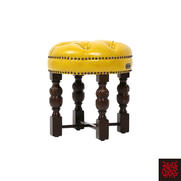 イエローPUレザーチェスターフィールドラウンドスツール 椅子 いす VINCENT(ヴィンセント) 合皮 木製 9004-RS-5P69B / ゴシック バロック クラシック アンティーク ヴィンテージ ビンテージ ゴスロリ ロリータ アパレル ファッション 店舗 おしゃれ