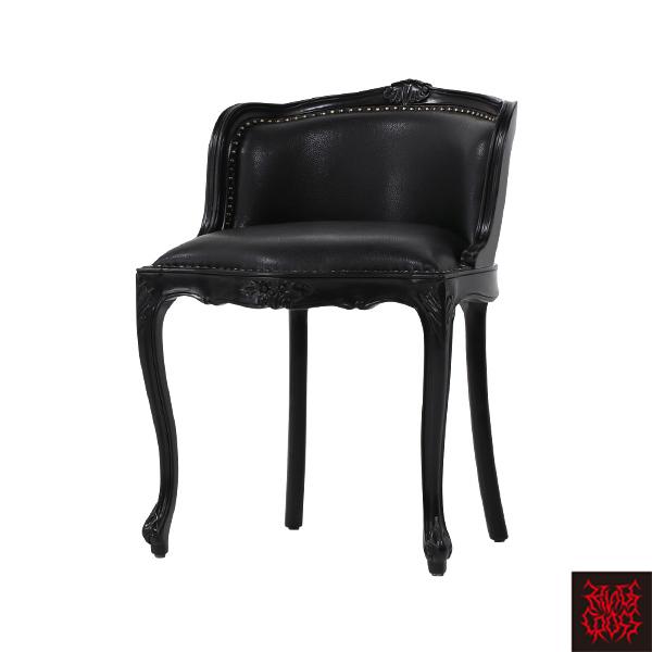 ブラックフレームブラックレザーロココバニティースツール 椅子 6090-N-8L6/ 姫系 プリンセス系 ゴシック ロリータ ゴスロリ バロック ロココ クラシック アンティーク ヴィンテージ ファッション 黒家具 おしゃれ