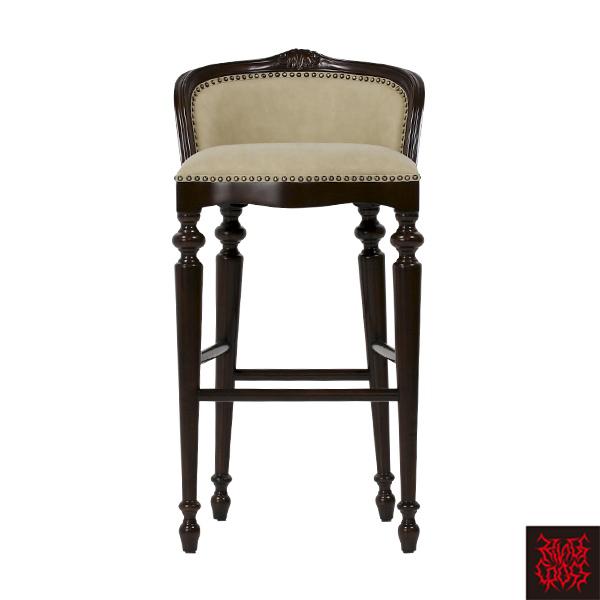 ベージュPUレザーロココ調カウンターチェア カウンタースツール ハイスツール チェア 椅子 合皮 生成 9009-5P42 / パブ バー ロココ クラシック アンティーク ヴィンテージ ブリティッシュ アイリッシュ ヴィジュアル スタッズ おしゃれ