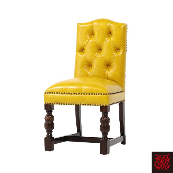 イエローPUレザーチェスターフィールドダイニングチェア ダイニングチェアシングルチェア 食卓椅子 チェア 椅子 合皮 黄色 9002-5P69B/ パブ バー ロココ クラシック アンティーク ヴィンテージ ブリティッシュ アイリッシュ ヴィジュアル スタッズ おしゃれ
