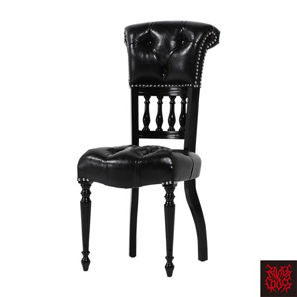 ブラックPUレザーシルバーカラースタッズキャプテンシングルチェア Sサイズ 椅子 合皮 黒 9001-S-8P51B/ 本革調 フェイクレザー ビニールレザー ゴシック バロック クラシック アンティーク ヴィンテージ ブルータル パンク ロリータ おしゃれ