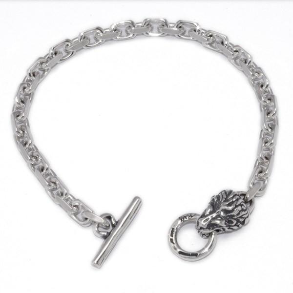 BWL(ビルウォールレザー)  Square Chain Link Bracelet Lion Head スクエアチェーンブレスレット ライオンヘッド B563