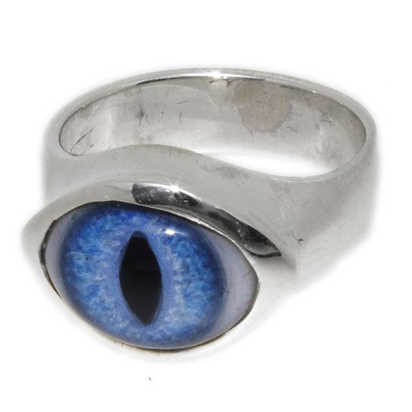 Crazy Pig Designs(クレイジーピッグ) スモールラウンドアイリング(ブルー/キャッツアイ) Small round eye #538 人気ブランド 義眼リング