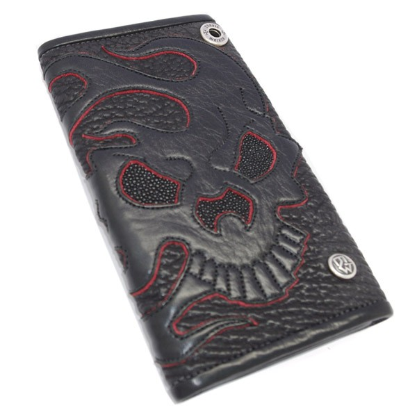 TRAVIS WALKER(トラヴィスワーカー) Large 3 Fold Wallet-Shark w/#13 Flame Skull Artwork 4W04-13C