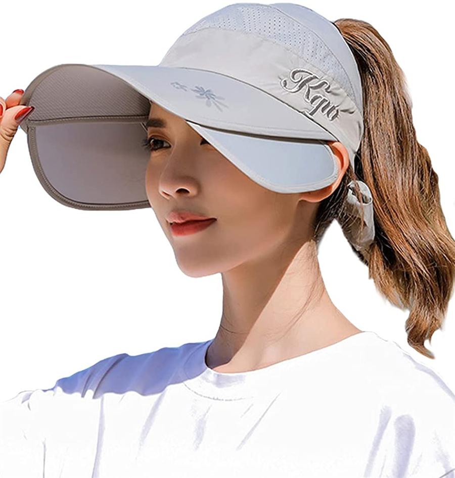 ツバ広で顔をしっかりカバー サンバイザー 日よけ帽子 つば広 大きいサイズ つば伸縮可能 UPF40+ キャップ UVカット レディース 紫外線対策 日焼け防止 海 自転車 アウトドア 取り外すあご紐付き 高品質 速乾 可愛い 内祝い 作業 小顔効果抜群 通気 海外直送 軽量 旅行用