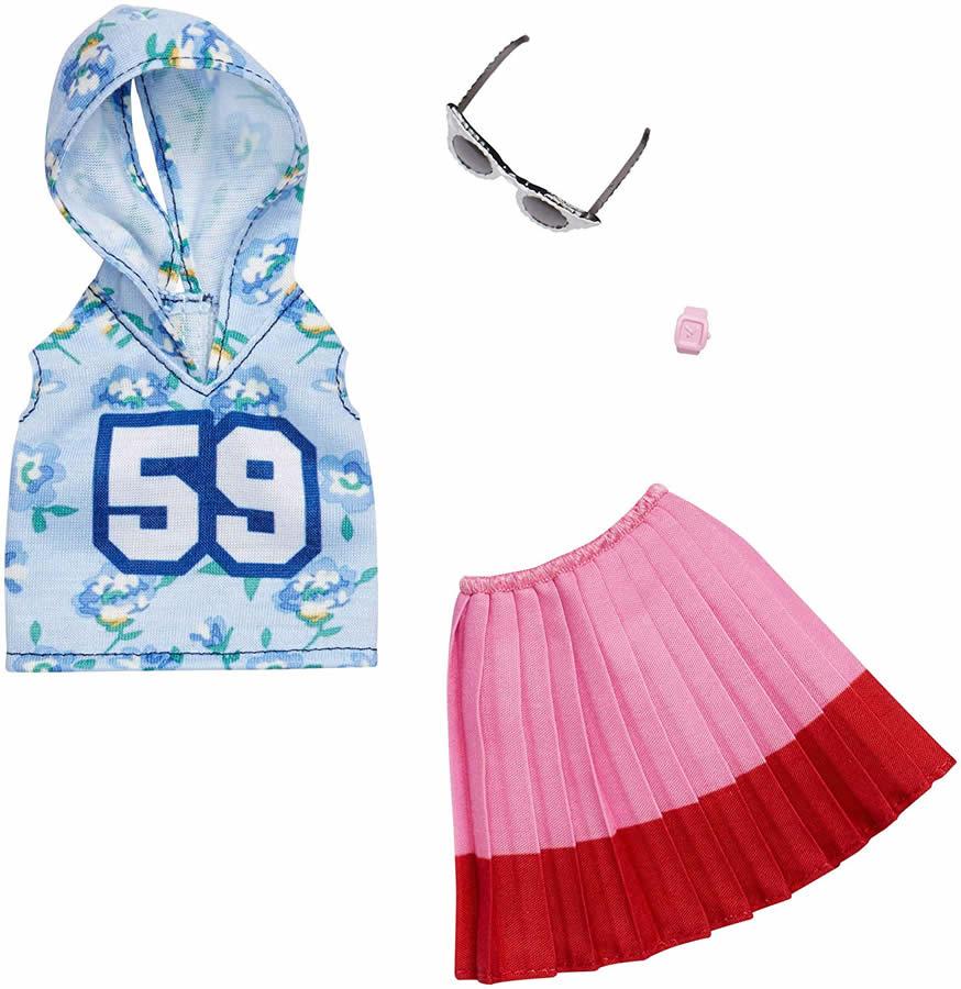 さわやかでスポーティーなバービーの着せ替え衣装 腕時計とサングラス付き バービー ファッションパック フード付き 水色 倉 タンクトップ ピンク スカート Barbie Mattel 絶品 バービー人形 FXJ10 アクセサリー 花柄 Fashions MATTEL 服